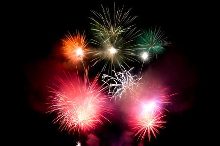 Explosive pyrotechnic display lights up night sky