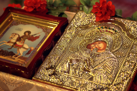 Church icon of Mother of God Mary and child (Jesus Christ) symbol christianity