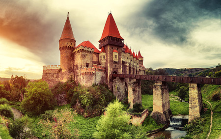 Beautiful view of castle with wooden bridge and high tower 新聞圖片
