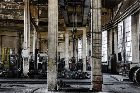 Abandoned comunist industrial interior dark mood
