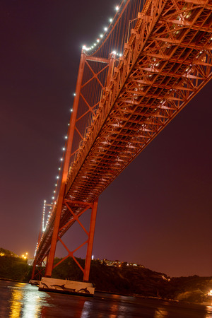 25th of April Bridge with Jesus statue in Lisbon at night
