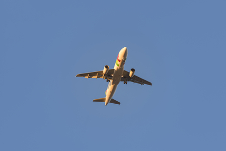 Airplane in the sky at sunset with landing lights