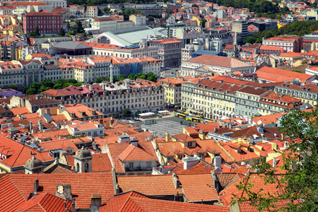 Aerial view of Old Town of Lisbon, Portugal
