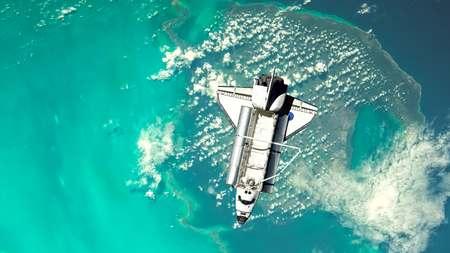 Space Shuttle Orbiting Earth sky in 4K Stock Photo