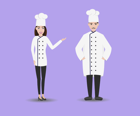 Smiling restaurant chef kook with assistants. Isolated man and woman chefs. Stock Photo