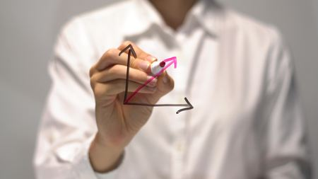 businessperson: Woman drawing Substantial Growth diagram with red up arrow on transparent screen