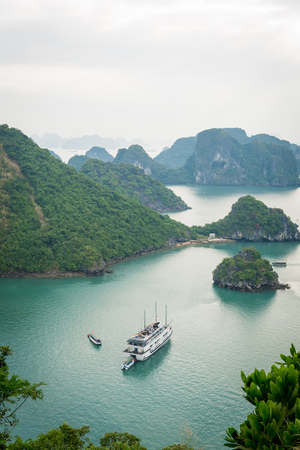 Halong bay in Vietnam Mountains in sea Stock Photo
