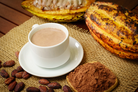 Hot chocolate drink, raw cocoa fruit, cacao beans, powder