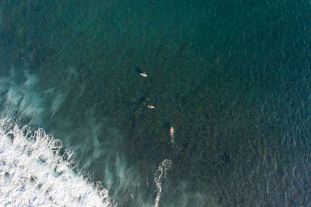 Aerial view of surfers in tropical ocean. Bali, Indonesia. Surfing concept