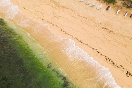 Ocean coastline, beah shore, sea waves. erial view, Bali