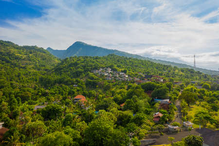 Mountainous landscape of Amed village, Aerial view. Bali.