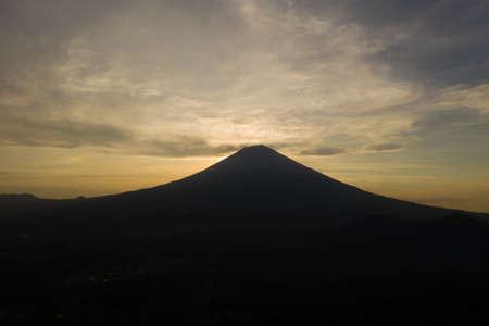 Sunrise above the volcano Batur. Kintomani, Bali