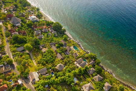 Amed bay, Bali, Indonesia. Aerial view Scenic nature