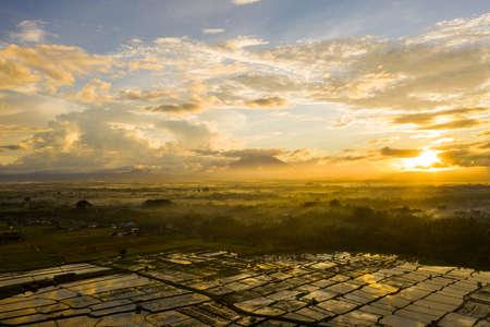 Sunrise landscape on the Bali island, Ubud, view of mount Agung Фото со стока