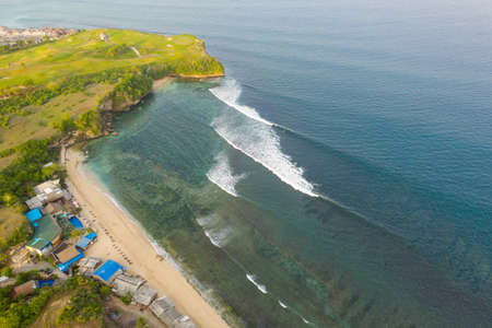 View from the top of Balangan Beach. Nature background drone shoot