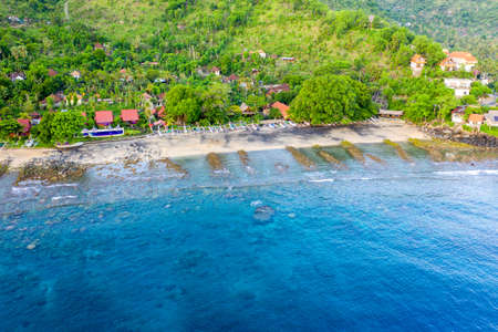 Amed bay coastline, Aerial view. Indonesia, Bali.