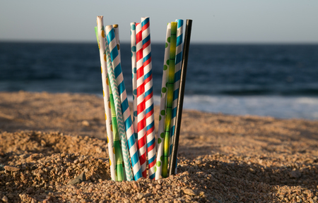 Help safe the Ocean concept - eco paper straws