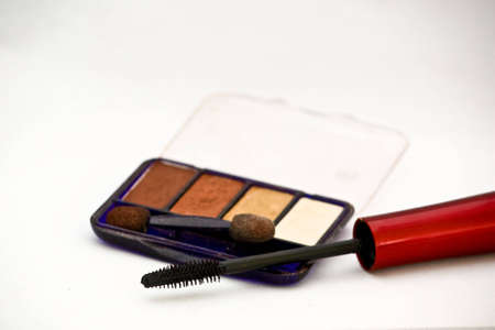 A close up of a mascara and eye shadow make up on a white background with natural shadows.