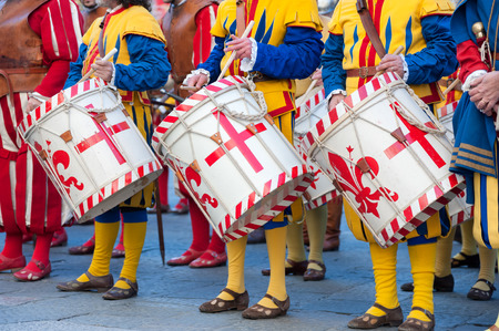 The traditional drummer procession during an historical reenactment in Florence Stock Photo
