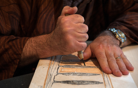 The ancient japanese woodblock printmaking called Moku Hanga
