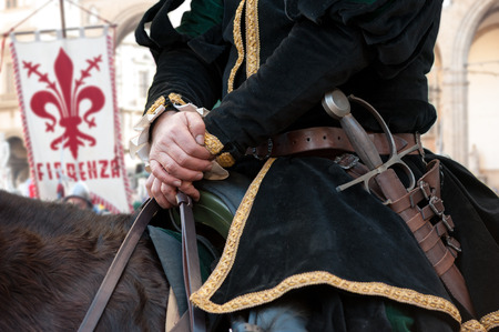 The medieval knights with sword, during historical reenactment in Florence