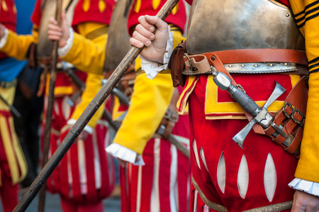 The medieval soldiers in uniform, during an historical reenactment in Florence Stock Photo