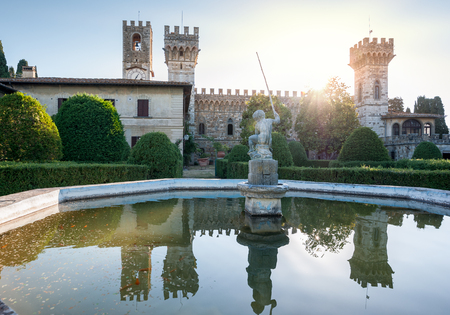 The fountain with little fisherman, located in the garden of the historic abbey of San Michele Arcangelo  Passignano, in the comune of Tavarnelle Val di Pesa, Province of Florence, Italy