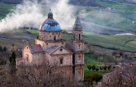 The San Biagios church, an example of Renaissance Greek cross central plan, outside Montepulciano, Tuscany. Stock Photo