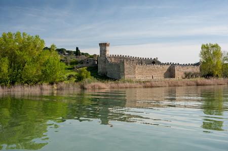 Ancient stronghold castle in Polvese island, Bolsena lake, Viterbo; Italy
