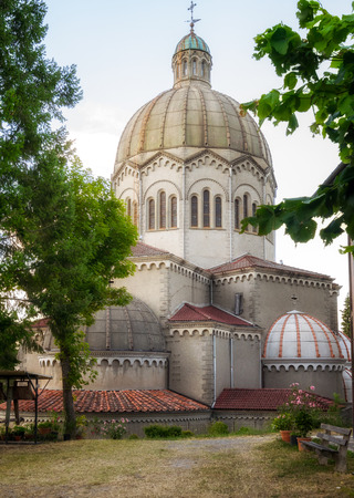 Lizzano in Belvedere, Bologna, ITALY - July 27, 2017: Saint Mamante Parish church, with its original large dome, was rebuilt in 1931.