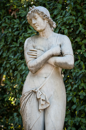 Florence, ITALY - July 18, 2017: Andromeda by unknown author (18 century) is a statue located in the Boboli Garden, along the main avenue.