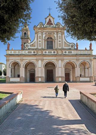 The Baroque facade of Santa Verdiana sanctuary, Castelfiorentino, Italy