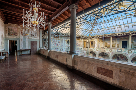 Castello, Firenze, ITALY - March 17, 2017: The frescoed courtyard and loggia of Villa La Petraia, in former times residence of the Medici family, located in Castello, near Florence.