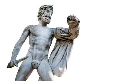 Florence, ITALY - July 18, 2017: The Greek Tyrantcidal statue, is a copy of the statue of Aristogitone (447 bC) by Kritios and Nesiotes. It is located in the Boboli Garden, along the main avenue. Editorial