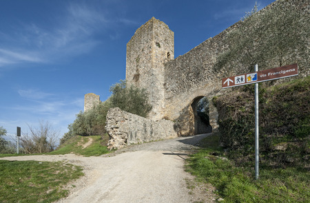 The walls of the medieval village of Monteriggioni, near Siena, Italy