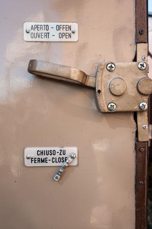 door handle: inner grip on the old train wagon door