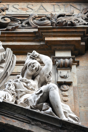 The statue of woman on the pediment of the San Gaetanos church located in Antinori square, in Florence, Italy