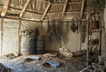 The interior of the typical manor longhouse, in the Medieval Village of Poggio Bonizio, Poggibonsi, Italy