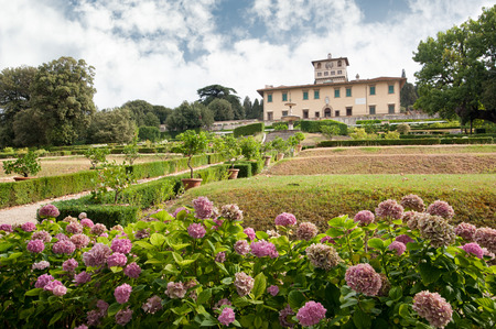 Castello, Firenze, ITALY - July 7, 2017: The building and the formal garden of Villa La Petraia, in former times residence of the Medici family, is located in Castello, near Florence.