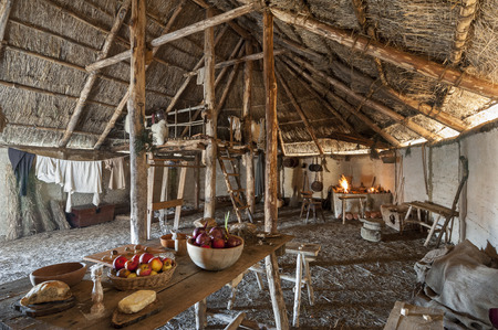 The interior of the typical manor longhouse, in the Medieval Village of Poggio Bonizio, Poggibonsi, Italy Stock Photo