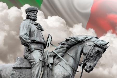 Giuseppe Garibaldi, the Hero of Two Worlds, italian flag on background