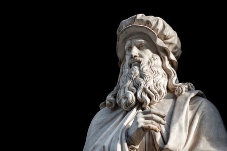Leonardo Da Vinci statue, by Luigi Pampaloni, 1839. It is located in the Uffizi courtyard, in Florence. Editorial