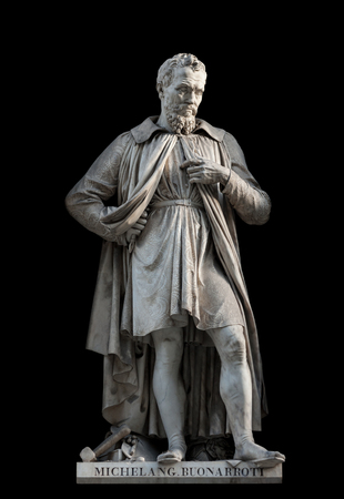 Michelangelo Buonarroti statue, by Emilio Santarelli, 1840. It is located in the Uffizi courtyard, in Florence. Editorial