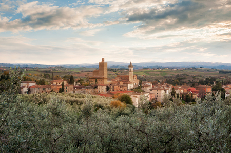 A panoramic view of Vinci, Tuscany, a comune in the Province of Florence 스톡 콘텐츠