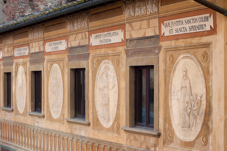 The frescoes and biblical mottos on the facade of the Bishop? ? ?,?? ? s Seminary, painted in 1700 by Francesco Chimenti. The palace is located in the main square of San Miniato, province of Pisa, Tuscany.