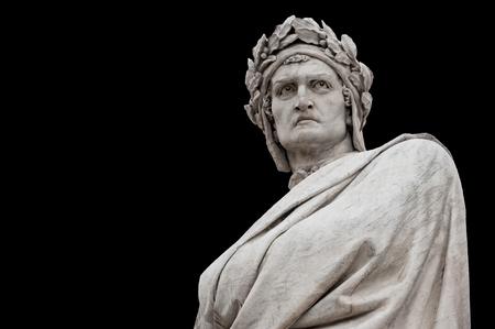 Dante Alighieri statue, by Enrico Pazzi, 1865. It is located in Piazza Santa Croce, next to Basilica of Santa Croce, Florence, Italy. Editorial
