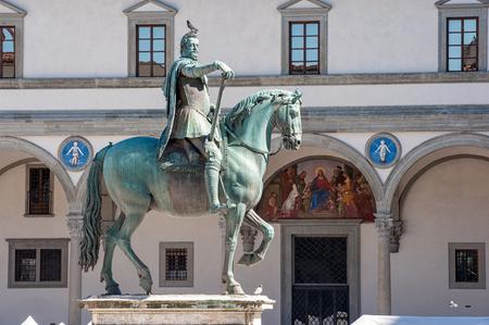 Ferdinando De? ?? Medici equestrian statue (by Giambologna and Pietro Tacca, 1608) in Santissima Annunziata Square, Florence.