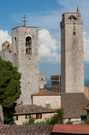 Some of the many towers in San Gimignano, Italy Stock Photo