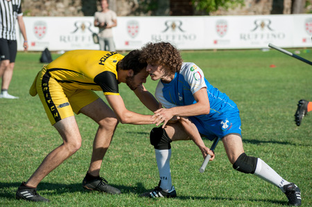 Florence, Italy - 2018, June 30: Quidditch is a fictional sport played at Hogwarts devoted by author.