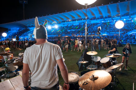 Florence, Italy - 2018, July 21: Musicians at the city arena during the ? ?? Rockin? ?? 1000 - That? ?? s Live?? , the biggest rock band in the world.